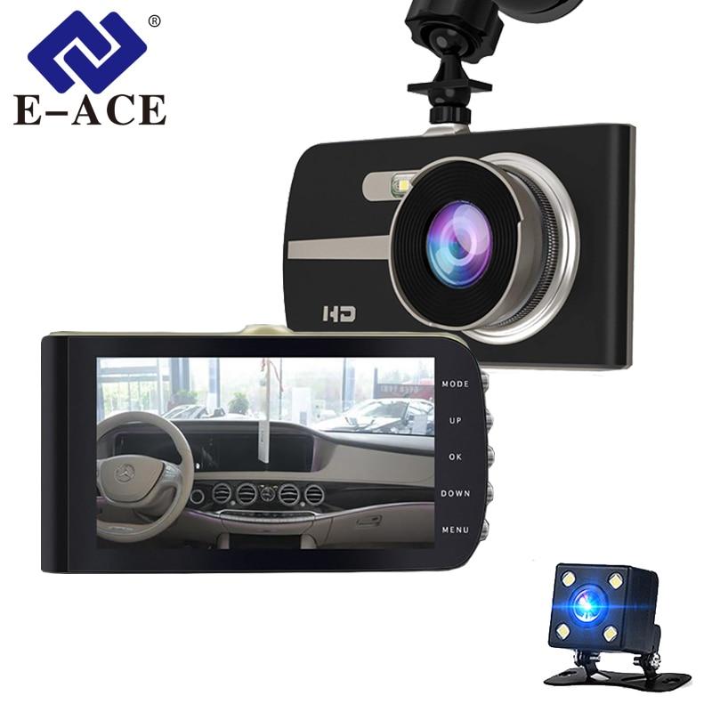 E-ACE Car DVR 4 Inch FHD 1080P Camera Dual Lens Dash Cam Video Recorder Night Vision G-sensor Auto Registrator Dashcam e ace car dvr camera rearview mirror fhd 1080p video recorder dual lens with rear camera auto registrator dash cam night vision