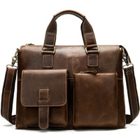 2019 Men's Briefcase Bag Men's Genuine Leather Laptop Bag Office Tote For Men's Leather Messenger Bags Men Laptop Bags 260
