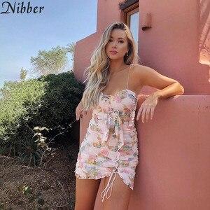 Image 2 - Vestido corto femenino de verano con estampado Floral, minivestido sexy para mujer, con encaje, estilo bohemio, 2019