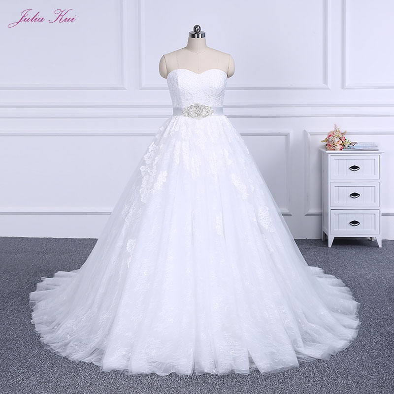 Us 19881 25 Offelegant Strapless Bridal Dress Beautiful Lace Court Train A Line Wedding Dress Puffy Princess Wedding Gown In Wedding Dresses From