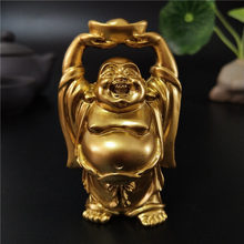 Golden Chinese Feng Shui Laughing Buddha Statue Ornaments Money Maitreya Buddha Sculpture Garden Figurines For Home Decoration(China)