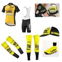 2017Pro Team Lotto Jumbo 7PCS Full Set Cycling Jersey Short Sleeve Quickdry Bike Clothing MTB Ropa