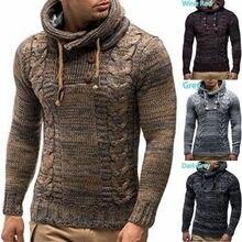 Осенний и зимний мужской свитер с высоким круглым вырезом, пуловер с длинным рукавом, цветочный двубортный тонкий свитер с капюшоном