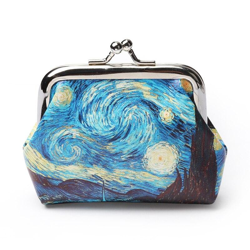 1Pcs Famous Van Gogh Oil Printing Small Wallet For Women Landscape Flower Pattern Mini Hasp Coin Purses Money Card Handbags 2019