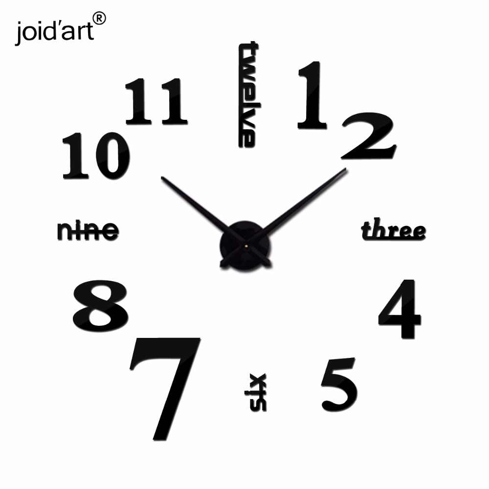 Hot new Quartz clocks fashion watches 3d real big wall clock rushed mirror sticker diy modern style design decor clock