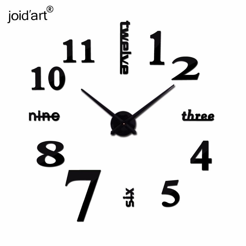 Hot New Quartz Clocks Fashion Watches 3d Real Big Wall Clock Rushed Mirror Sticker Diy Modern Style Design Decor Clock