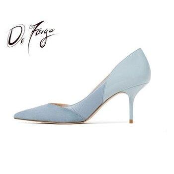 DRFARGO Mid Thin Heel Patchwork Dress Shoes Women Spring Summer Fashion 6 colors Shallow Vamp Black Nude Blue Slip Shoes 34-40