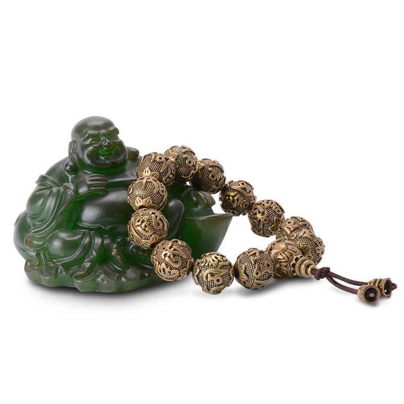 ヴィンテージチベット仏教真鍮チャームブレスレット 6 ワードのマントラ OM MANI パドメ HUM 幸運護符ビーズブレスレット男性のための