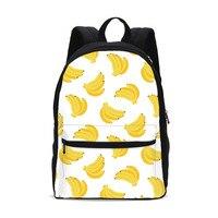 Kawaii Banana Fruit Anime Print Funny Pack Backpack Canvas Men Women School Back Pack Kids Travel Bag Mochila Escolar