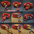 1 Pc High Quality Red Cinnabar 108 Beads Prayer Mala Bracelets Multi-layers Animal Charms Stretch Cuff Bangles For Women
