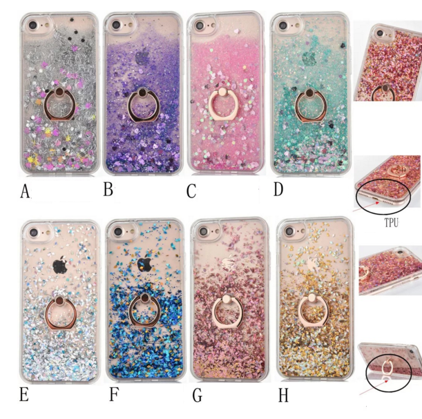 Galleria fotografica AIBOR Bling Love Heart Glitter Stars Dynamic Liquid Quicksand plated Ring Grip Stand Cover Phone Case For Iphone X 6 6S 7 8 Plus