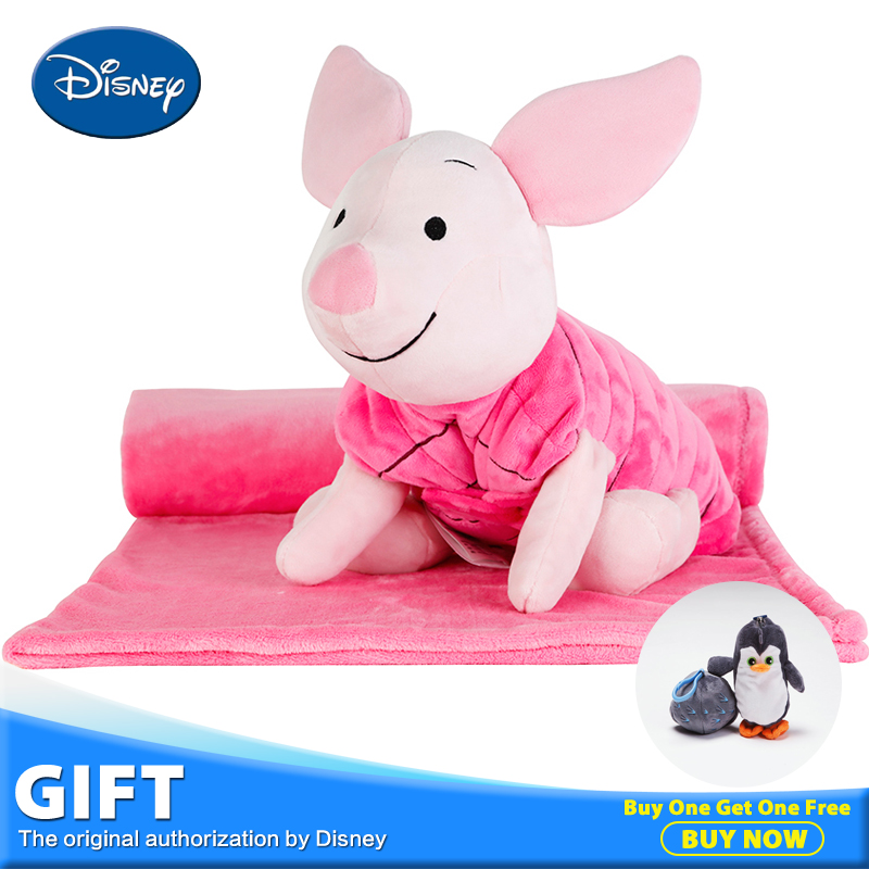 Disney 40cm Piglet Plush Toys Peluches Stuffed Doll Portable Rest Pillow Cushion Warm Blankets For Kid Birthday Gift Brinquedos disney master car children plush toy peluches stuffed doll with rest blanket kids pillow cushion toys christmas birthday gifts