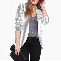 אביב סתיו בלייזר נשים 2018 האופנה Slim פסים אין כפתור טרייל מוצרי הלבשה תחתונה בגדי עבודה בתוספת גודל XS-XXL