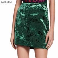 KoHuiJoo 2018 Green Velvet Skirt Women Slim Classic Elegant Short A Line Sexy Mini Skirts Female
