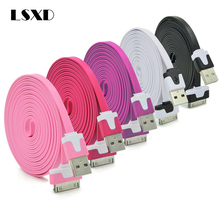 LSXD 1m 2m 3m Noodles Micro USB Sync Data Charging Charger Cable Cord for Apple iPhone 4 4S iPad 2 3 Drop Shipping