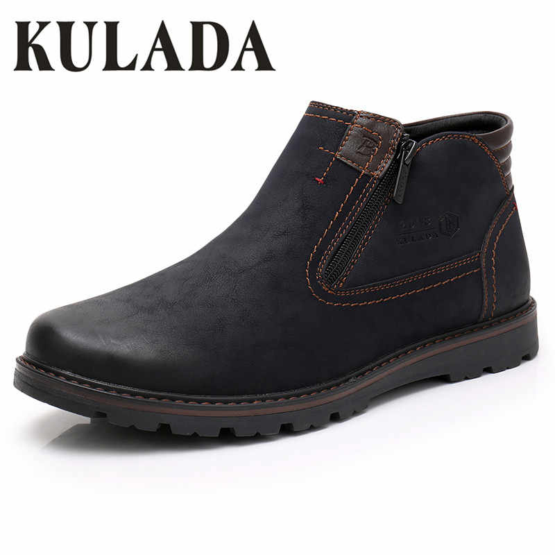KULADA 2019 Mannen Laarzen Koe Suede Warmste Winter Boot Outdoor Werkschoenen Mannen Casual Zipper Side Comfortabele Winter Schoenen Hombre