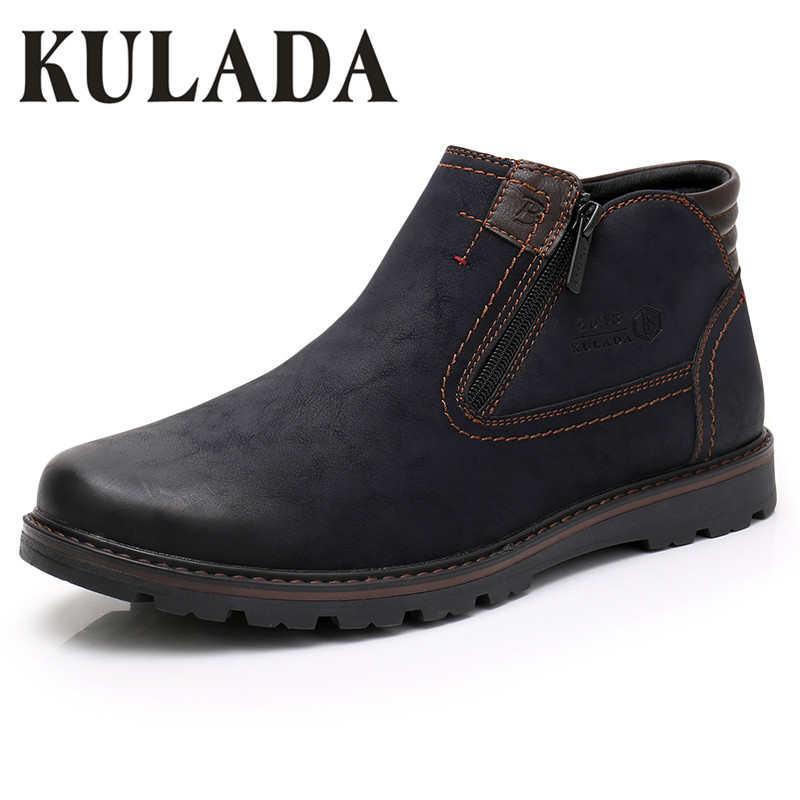 KULADA 2018 Boots Men Cow Suede Warmest Winter Boot Outdoor Working Shoes Men Casual Zipper Side Comfortable Winter Shoes Hombre plush casual suede shoes boots mens flat with winter comfortable warm men travel shoes patchwork male zapatos hombre sg083
