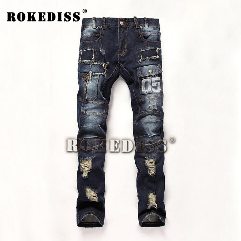 Alternative Trend Men's jeans Splicing Frayed Nightclub Printing The New Slim Foot pants High-end Elasticity Male trousers B118 morais r the hundred foot journey
