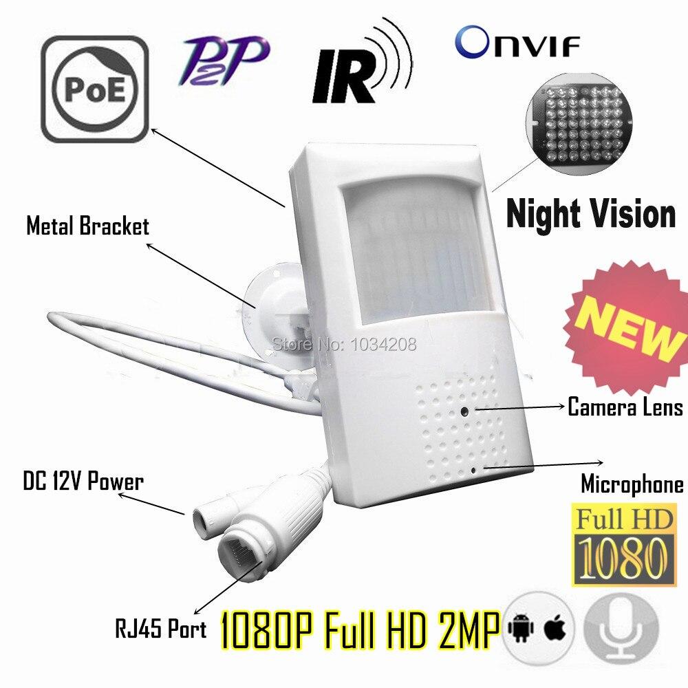 Пинхол 1080 P ИК Аудио POE Ip Камера Ночное видение 940nm Инфракрасный Ip Камера PIR Стиль детектор движения ONVIF P2P металлический кронштейн