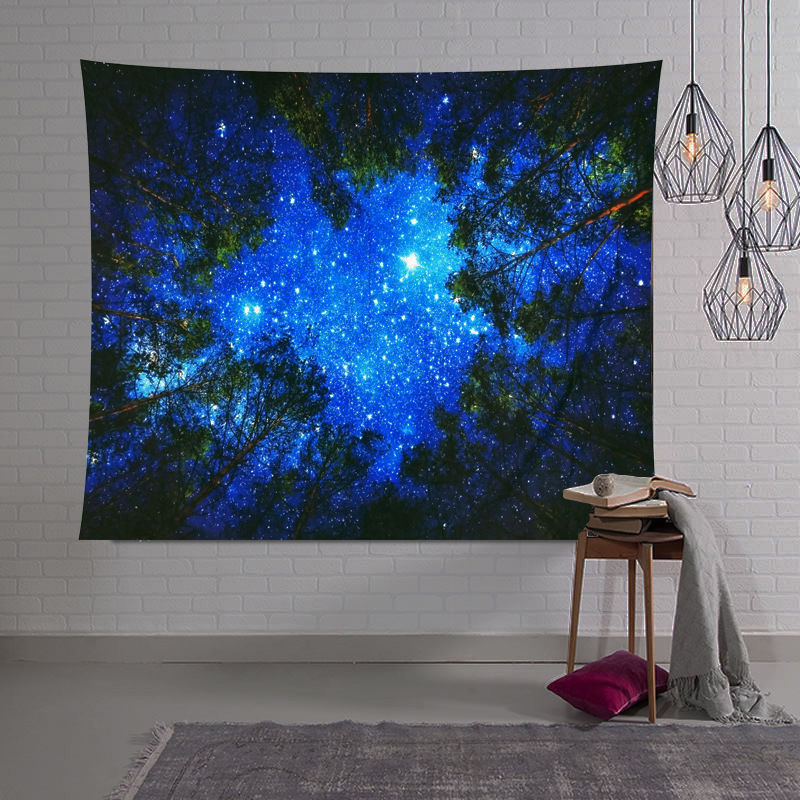 Beautiful Night Sky Wall Tapestry Home Decorations Wall Hanging Forest Starry Night Tapestries For Living Room Bedroom 2