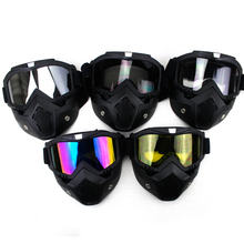 VOSS Motorcycle Goggles With Mask Helmet Accessories Glasses Transparent Universal For Helmet Racing Mask Detachable Face Shield