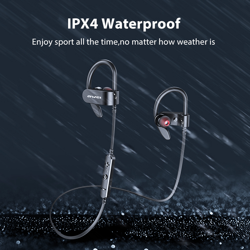 AWEI WT50 Sport Wireless Earphones Bluetooth Dual Power!!Ear-hook Waterproof IPX4 Headset Noise Reduction HiFi Stereo Sound