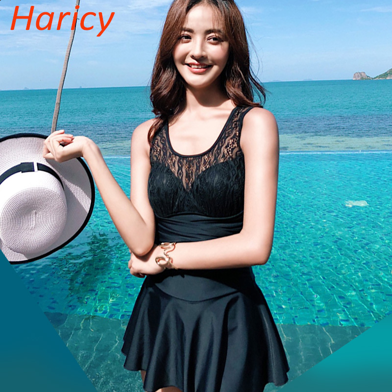Swimwear Women 2018 Beach Black Lace One Piece Swimsuit Dress Sexy Mesh  Bodysuit Bathing Suit Swim Maillot de bain Femme