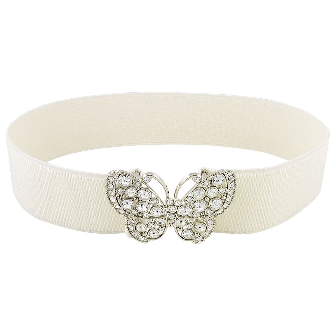 Rhinestones Butterfly Hook Buckle Elastic Cinch Waist Belt White