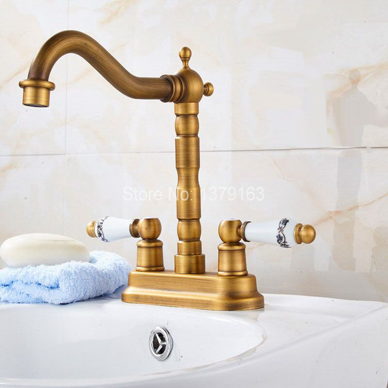 Antique Brass 4 Centerset Kitchen Bathroom Vessel Sink Two Holes Basin Swivel Faucet Dual Ceramics Handles Water Tap anf425 golden brass kitchen faucet dual handles vessel sink mixer tap swivel spout w pure water tap