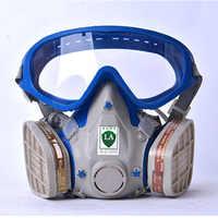 Maschera antigas con gli occhiali del fronte pieno maschera protettiva anti-polvere vernice chimica carbone attivo maschere di fuoco di fuga apparato di respirazione