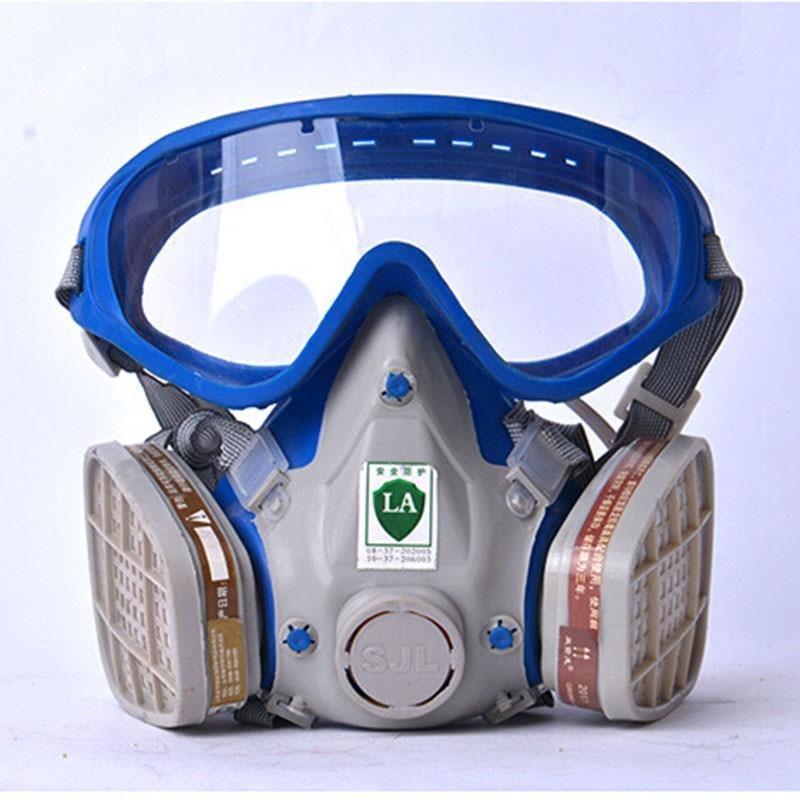 Gas Maske Mit Brille Volle Gesicht Schutz Maske Anti-staub Farbe Chemische Masken Aktivkohle Feuer Flucht Atemschutzgerät Strukturelle Behinderungen