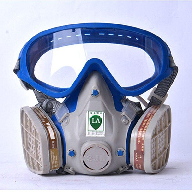Gasmaske mit brille vollgesichtsschutzmaske abti-staub-funktion staub farbe chemischen masken aktivkohle feuerleiter atemschutzgerät