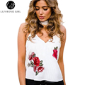 White Floral Embroidery Cami Sexy Satin Tops Off Shoulder Strap V Neck Short Women Tops Summer Beach Elegant Girls Blusa Shirt