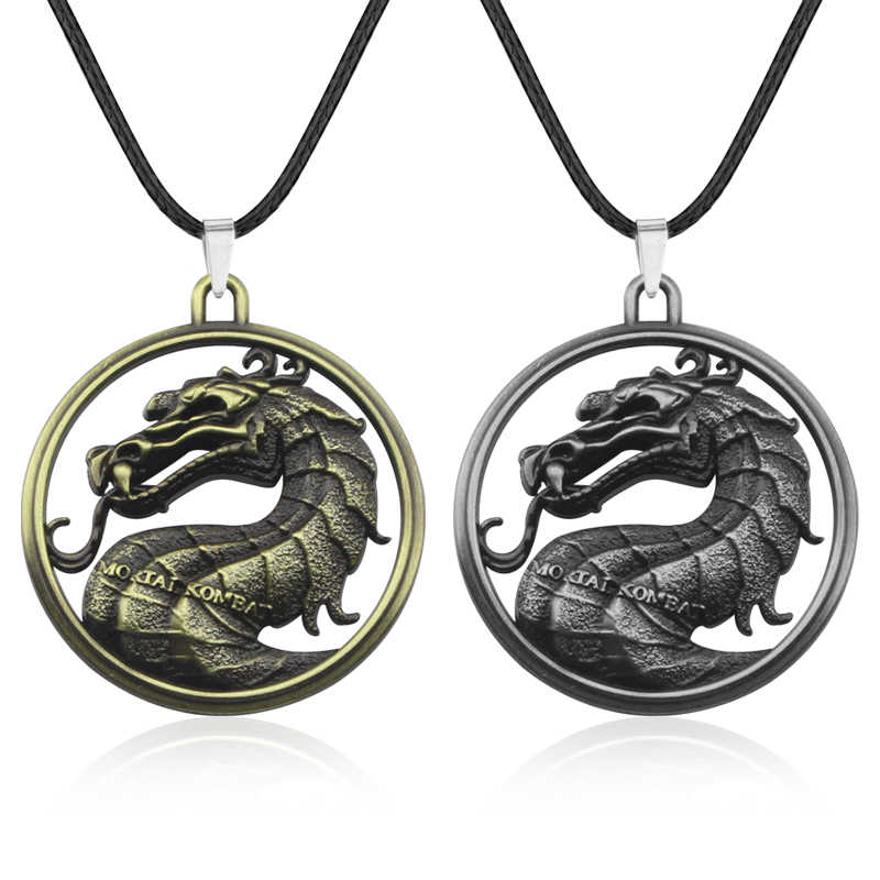 Game Mortal Kombat Advance Pendant Necklace Vintage Leather Chain Metal Round Dragon Statement Necklace Jewelry Graduation Gift
