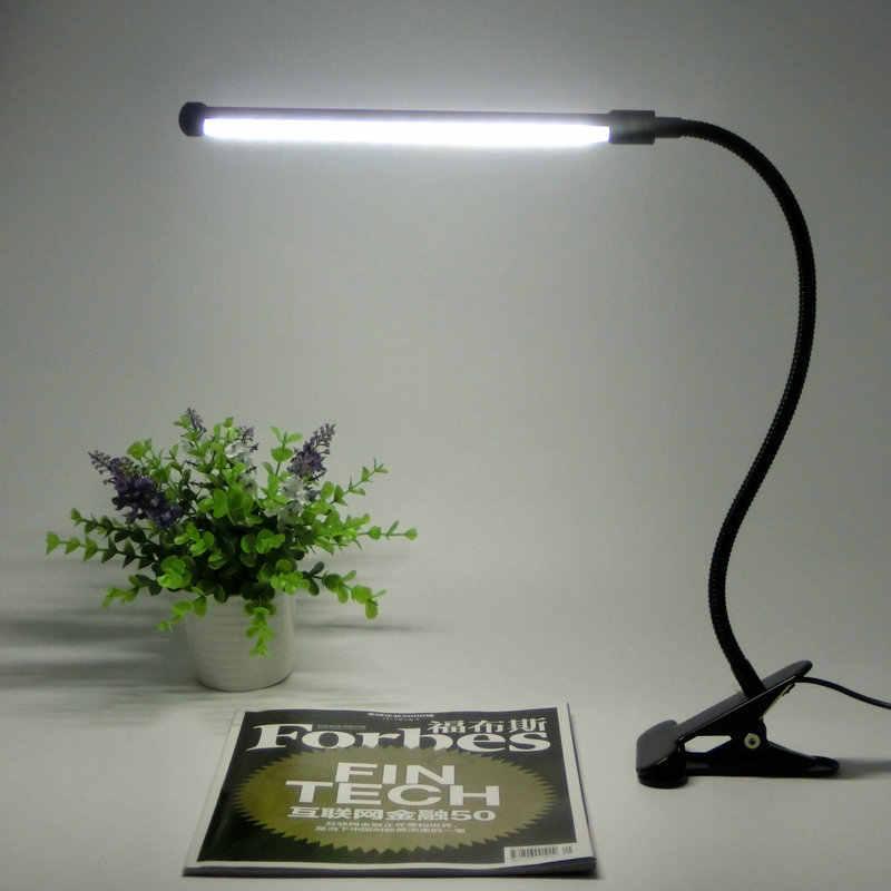 Защита глаз Светодиодная настольная лампа для чтения с зажимом двухуровневый переключатель яркости Диммер настольная лампа энергосберегающая