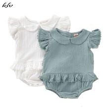 Newborn Baby Girl's Romper Kids Clothes Ruffle Sleeve Doll Collar Romper Jumpsuit Cotton Linen Outfits Set недорого