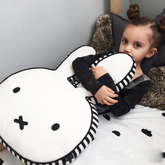 Estilo nórdico 100% Do Bebê Do Algodão Travesseiro Super Fofo Coelho Travesseiro Boneca Adereços Foto Do Bebê Crianças Quarto Decorar Presentes