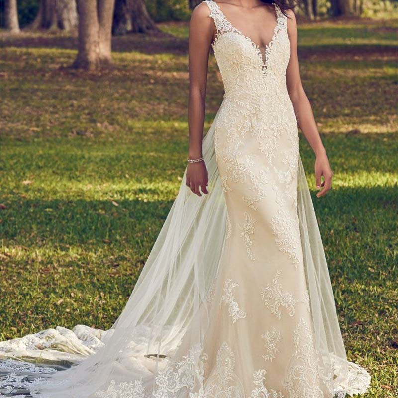 Illusion Mermaid V-Neckline Sheath Wedding Dresses 2019 Beaded Lace Straps Open Back Detachable Tulle Train Bridal Gowns AX115