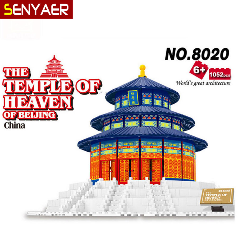 WanGe 8020 World Architecture 1052Pcs Beijing Forbidden City DIY Large building block model Bricks 3D Educational Children Toys mr froger loz diamond block easter island world famous architecture diy plastic building bricks educational toys for children