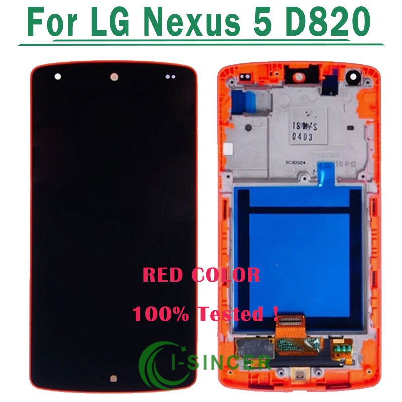 1/PCS Red Color for LG Google Nexus 5 D820 D821 LCD touch screen digitizer assembly with frame, free shipping
