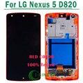 1/pcs cor vermelha para lg google nexus 5 d820 d821 lcd touch screen digitador assembléia com frame, frete grátis