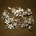 Ouro encantador Casamento Floral Acessórios Para o Cabelo Pérola Jóias Artesanais Conjunto Headpiece Nupcial Pinos Clipe