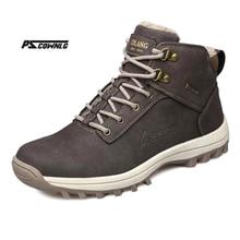 Супер Теплый Dentelle на шнуровке зимние сапоги, большой Размеры Cuir véritable Мужские ботинки, повседневная мужская зимняя обувь