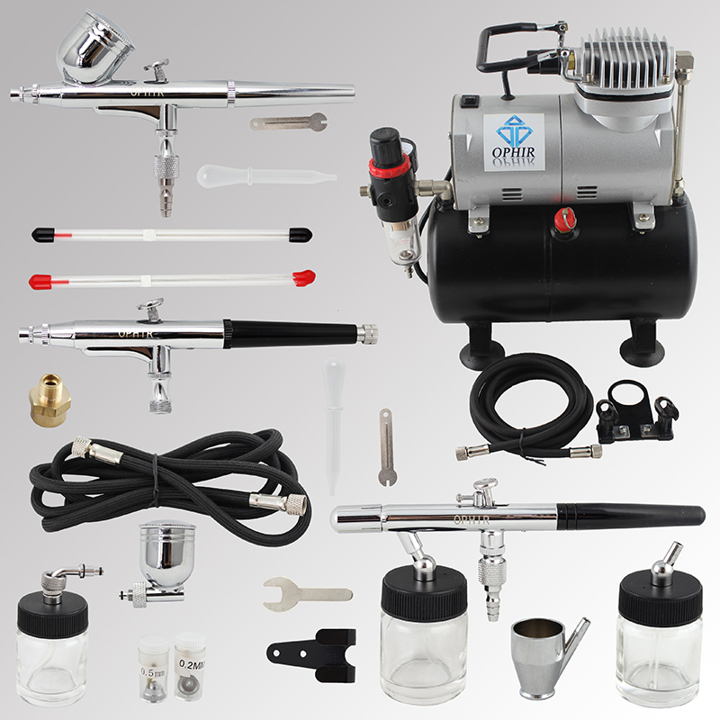 OPHIR 3 Airbrush Spray Guns with Air Tank Compressor for Cake Paint Temporary Tattoo Nail Art Air-brush Kit _AC090+004A+071+074 ophir temporary tattoo tool dual action airbrush kit with air tank compressor for model hobby cake paint nail art ac090 ac004