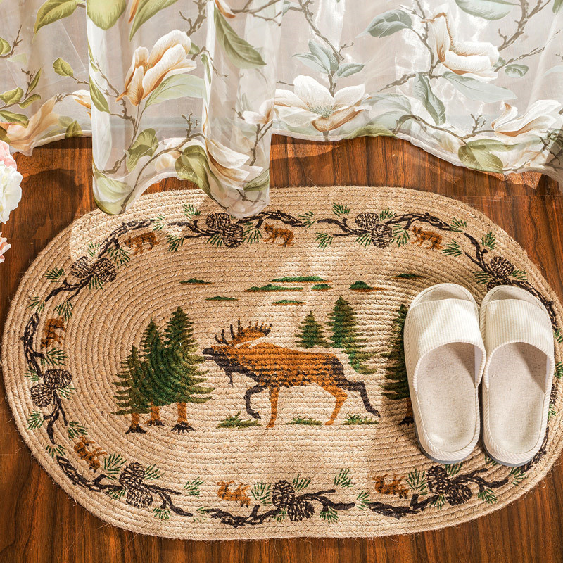 Country Style Carpet Tapis Jute Indoor Mat Doormats Kitchen Floor