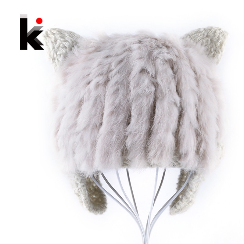 Autumn Winter Women's Knitted Caps Cute Rabbit Fur beanie Hats With Ears Family Matching Outfits Women Hat Knitting Earflaps Cap gift children knitting wool hat cute keep warm rabbit beanie cap autumn and winter hat with earflaps whcn