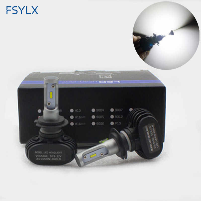 FSYLX 2PCS S1 N1 CSP H1 H3 H7 H8 H9 H11 9005 9006 H4 H13 9004 9007 Car Headlight Bulbs Auto H27 881 HB3 HB4 50W 8000LM LED lamps