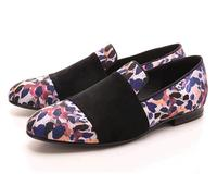 Luxury Cotton Fabric Men S Animal Prints Loafers With Black Suede Strap Casual Style Party Men
