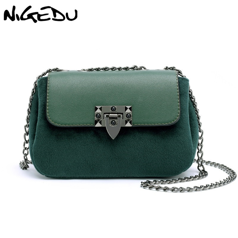 fc5721b57 NIGEDU Women Crossbody Bags small Soft velvet flap messenger bags Mini  little Shoulder bag female Chain Handbags bolsas feminina