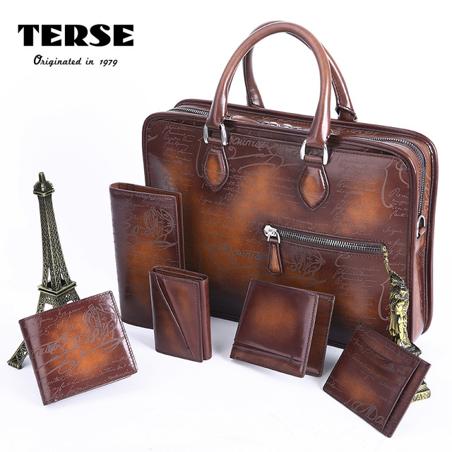 TERSE Christmas gift handmade leather bag mens a set of tobacco briefcase  Italian genuine leather document formal tote bag 472-1 7d716fd357